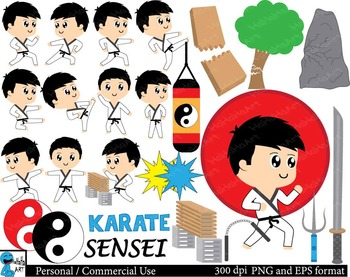 Karate kids Set Clipart Digital Clip Personal Commercial Use 72 images cod157