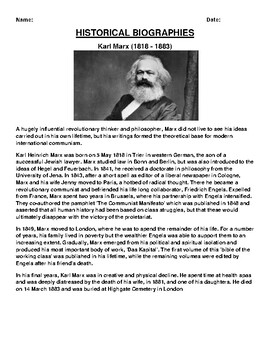 Karl Marx Biography Article and (3) Assignments