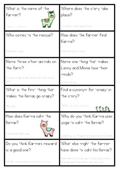 Karma the Llama Comprehension Game to match Reader's Theatre