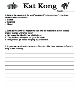 Kat Kong by Dav Pilkey Reading Response (2-4)