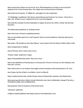 Kate Chopin Mini Unit w/Scavenger Hunt Bio, Timeline Activity, Reading