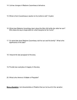 "Kate Chopin's ""A Matter of Prejudice"" Worksheet (or Test) & Detailed Answer Key"