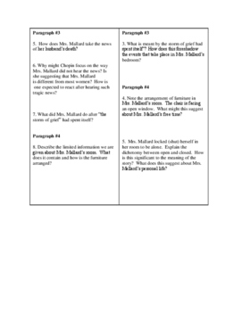 """Kate Chopin's """"The Story of an Hour""""  85 Close Reading& Analysis Questions"""