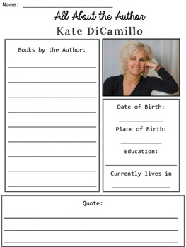 Kate DiCamillo Author Study Organizers