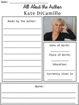 Kate DiCamillo Author Study Organizers