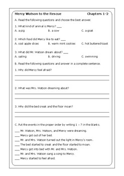 "Kate DiCamillo ""Mercy Watson to the Rescue"" worksheets"