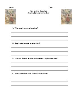 Kate and the Beanstalk Reading Comprehension Quiz