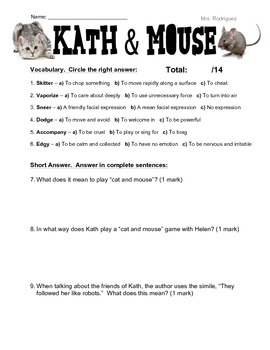 Kath & Mouse Short Story Questions