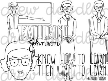 Katherine Johnson Digital Clip Art Set- Black Line Version