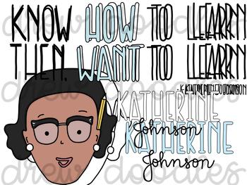 Katherine Johnson Digital Clip Art Set- Color and Black Line COMBO