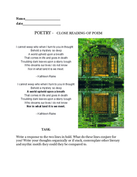 Kathleen Raine poem -  poetic close reading & reader assignment - extract