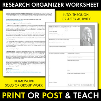 Kathryn Stockett Author Study Worksheet, The Help, Easy Biography Activity, CCSS