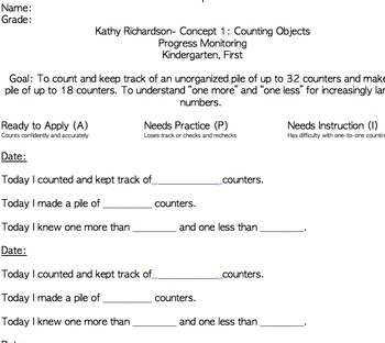 Kathy Richardson Progress Monitoring Sheets