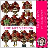 Talking Turkey clip art - LINE ART - by Melonheadz