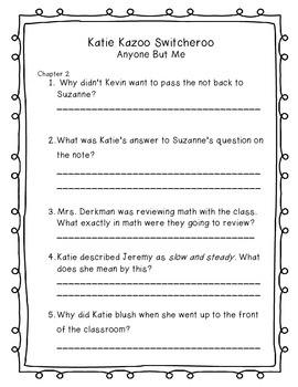 Katie Kazoo Comprehension Packet