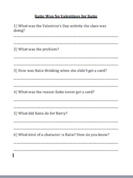 Katie Woo No Valentines for Katie Comprehension Questions