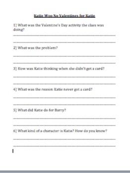 Katie Woo No Valentines for Katie Comprehension Questions