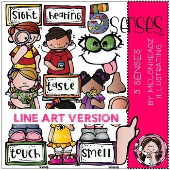 5 senses clip art - LINE ART- by Melonheadz