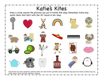 Katie's Kites - Letter K Beginning Sound sort