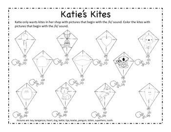 Katie's Kites - Letter K Beginning Sound sort