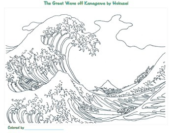 Katsushika hokusai coloring pages by smart kids worksheets for The great wave coloring page