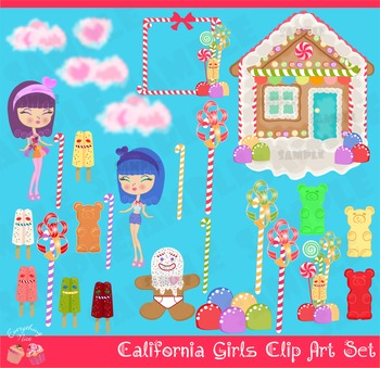 Katy Girls Candies Candy Land Clipart Set