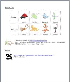 Katy No-Pocket - Insect & Animal Sorting