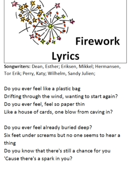 "Katy Perry's ""Fireworks"" Poetry Review Packet"