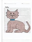 Quadrant 1 Coordinate Graph Mystery Picture, Katy the Cat