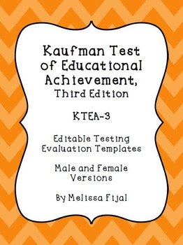 Kaufman Test of Educational Achievement, Third Edition - Editable template