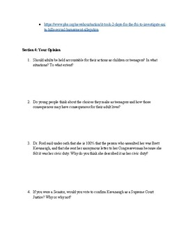 Kavanaugh Nomination Research Packet and Essay Assignment