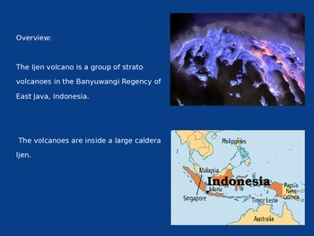 Kawah Injen Volcano - Power Point - Information Pictures Facts History Blue Lava