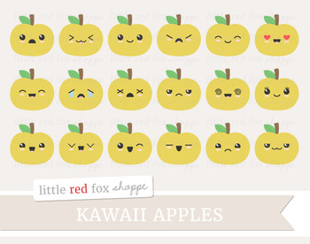 Kawaii Apple Clipart; Fruit, Cute, Happy, Face