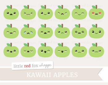 Kawaii Apple Clipart; Fruit, Cute, Happy, Face