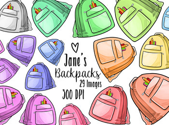 Kawaii Backpacks Clipart