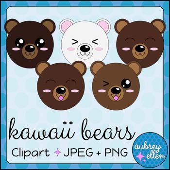 Kawaii Bear Faces Clipart