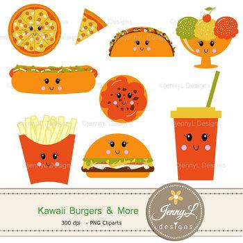 Kawaii Burgers Digital Papers and Cliparts