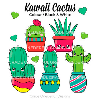Kawaii Cactus Clipart Color Black And White Cactus Paper 3320893 on Math Clip Art Black And White