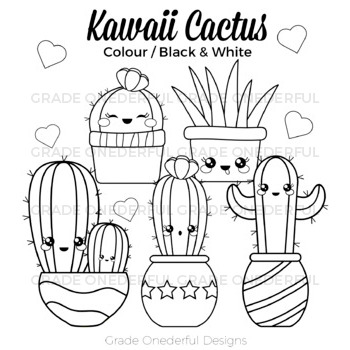 Kawaii Cactus Clipart: Color, Black and White, Cactus Paper