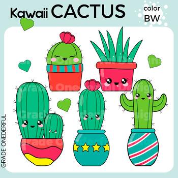 kawaii cactus clipart color black and white cactus paper by grade rh teacherspayteachers com cactus clipart cactus clip art free