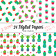 Kawaii Cactus Papers, Cute Digital Papers in Summer Colors