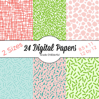 Kawaii Cactus Papers, Cute Digital Papers in Summer Colors