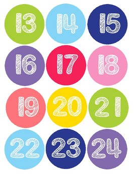 Kawaii Calendar Numbers