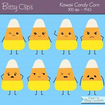 Kawaii Candy Corn Digital Art Set Clipart Commercial Use Clip Art