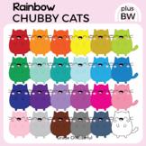 Kawaii Cats Clipart, Rainbow Cats Clip Art