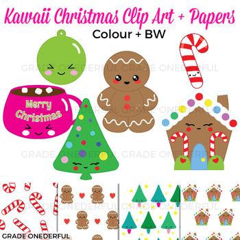 Kawaii Christmas Clip Art and Papers: Color and BW