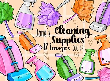 Kawaii Cleaning Supplies Clipart