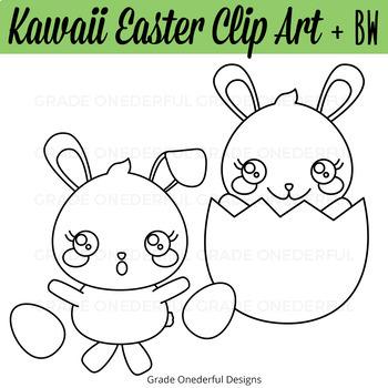 Kawaii Clipart Set, Easter Clipart, Kawaii Clipart, Easter Clip Art