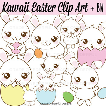 Easter bunny kawaii. Clipart bunnies in eggs