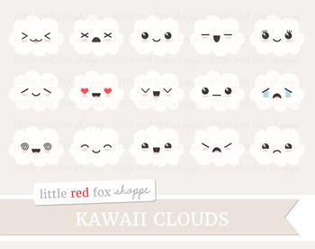 Kawaii Cloud Clipart; Cute, Weather, Happy Face